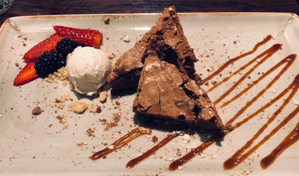 chocolate brownie desert in greenwich